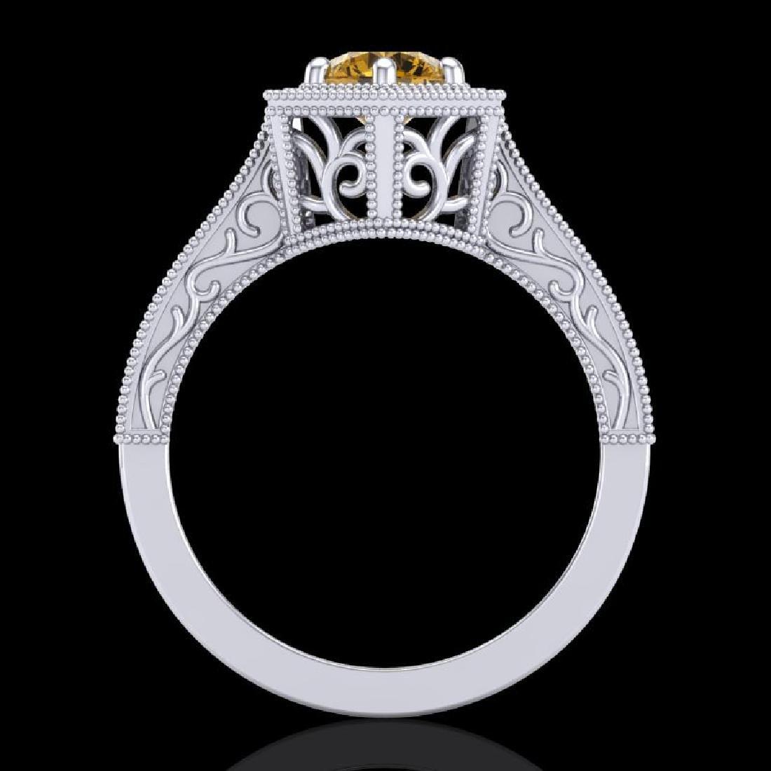 0.77 CTW Intense Fancy Yellow Diamond Engagement Art - 3