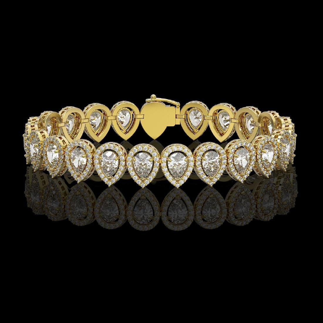 15.85 CTW Pear Diamond Designer Bracelet 18K Yellow