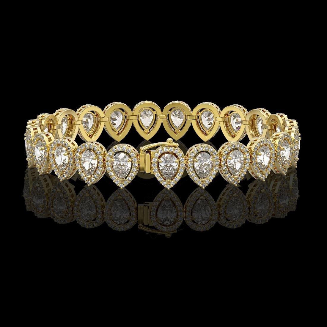 15.85 CTW Pear Diamond Designer Bracelet 18K Yellow - 2
