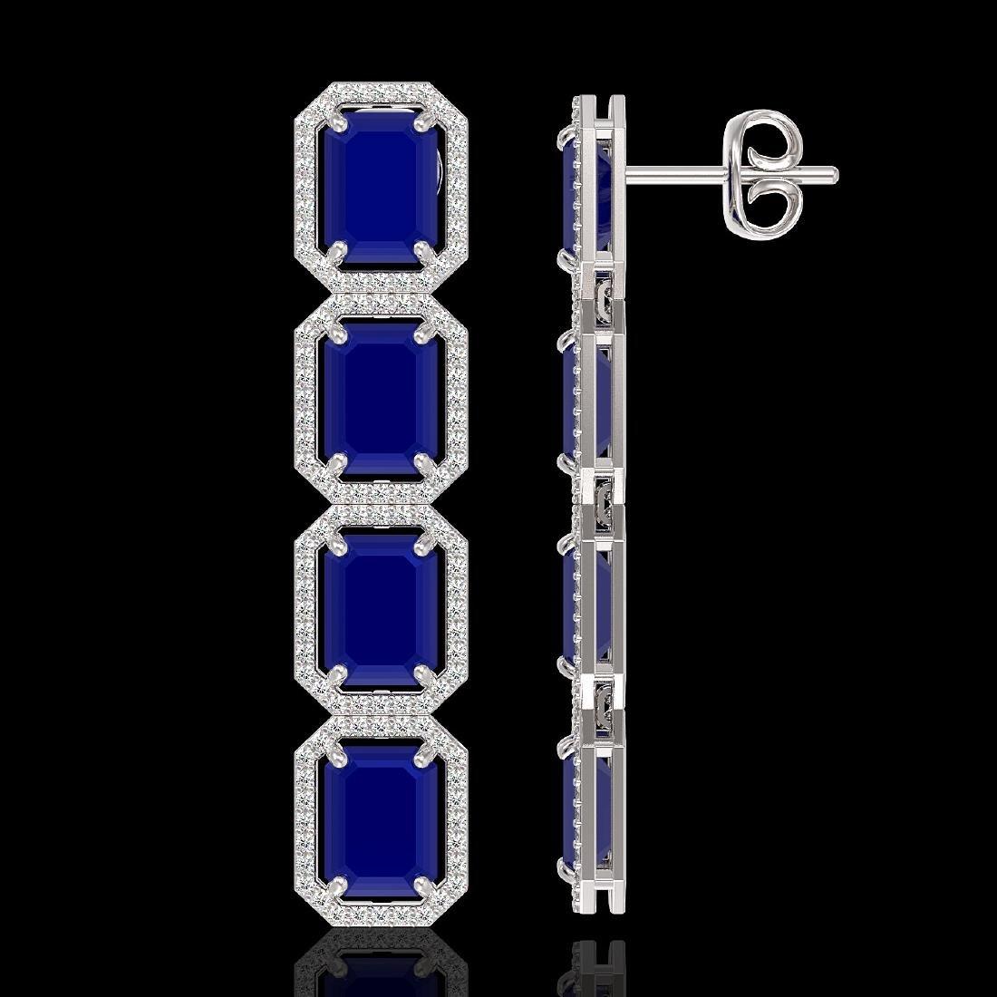 20.59 CTW Sapphire & Diamond Halo Earrings 10K White - 2