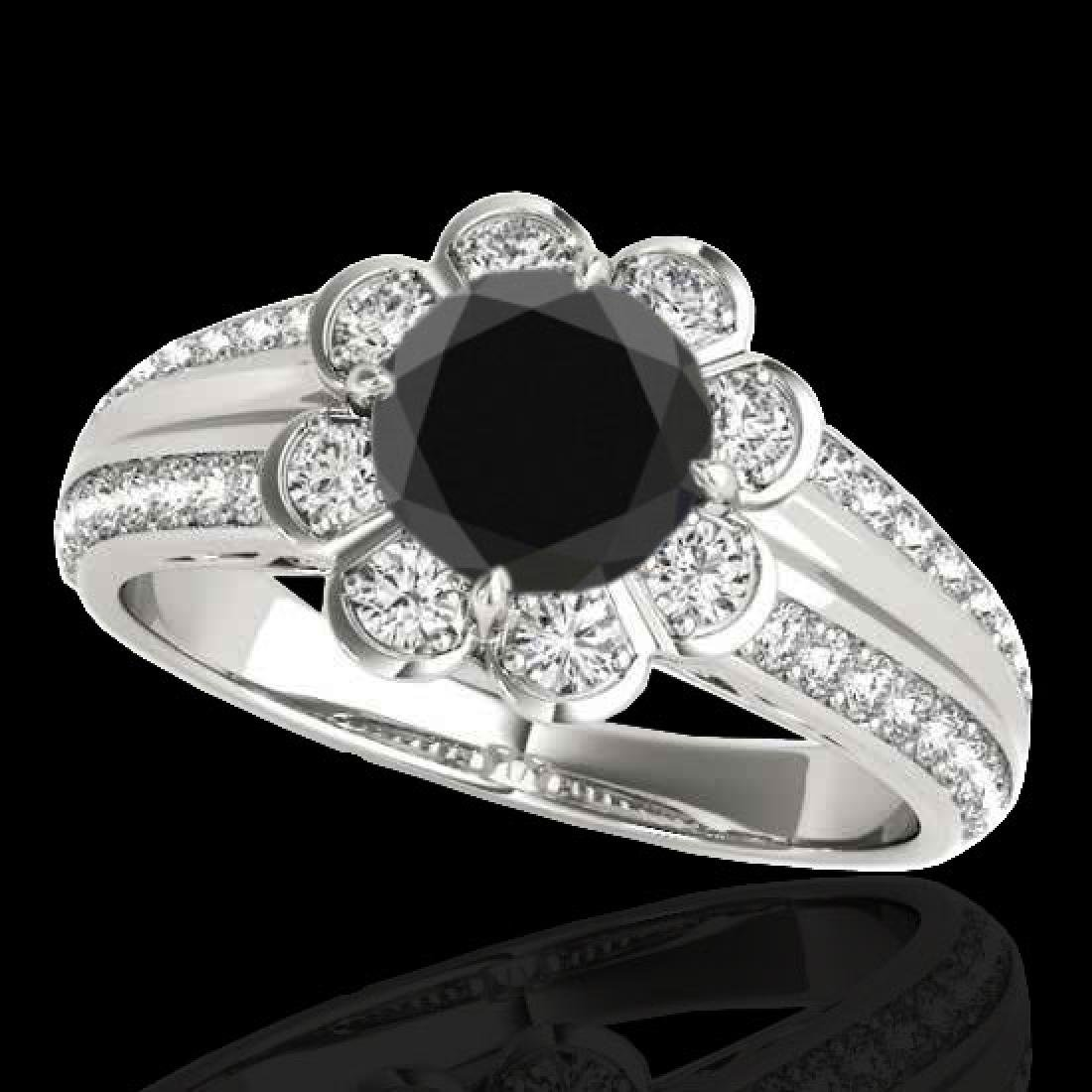 2.05 CTW Certified VS Black Diamond Solitaire Halo Ring