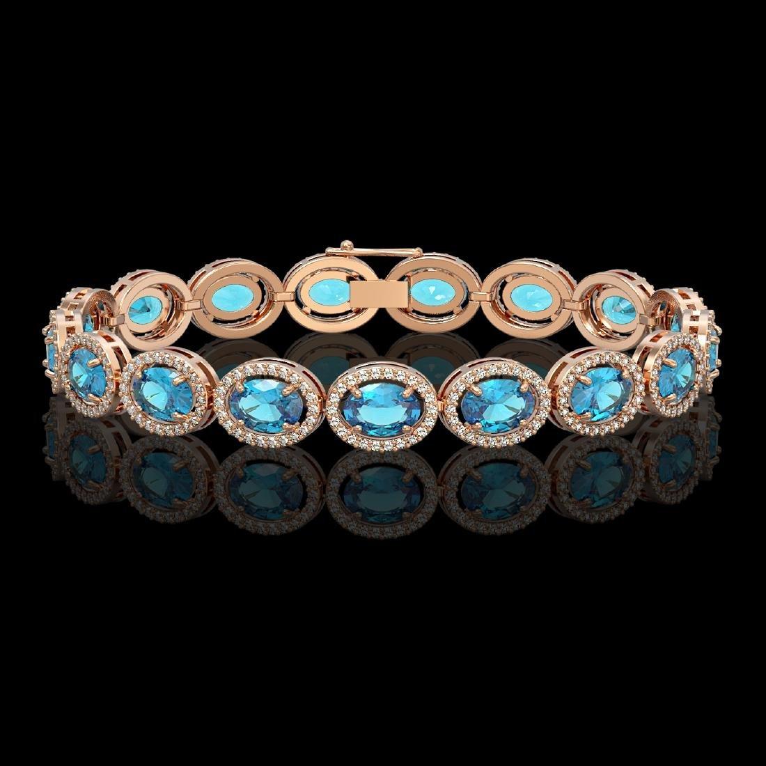24.32 CTW Swiss Topaz & Diamond Halo Bracelet 10K Rose