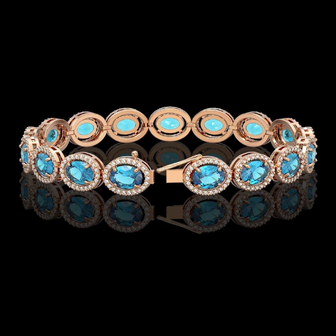 24.32 CTW Swiss Topaz & Diamond Halo Bracelet 10K Rose - 2