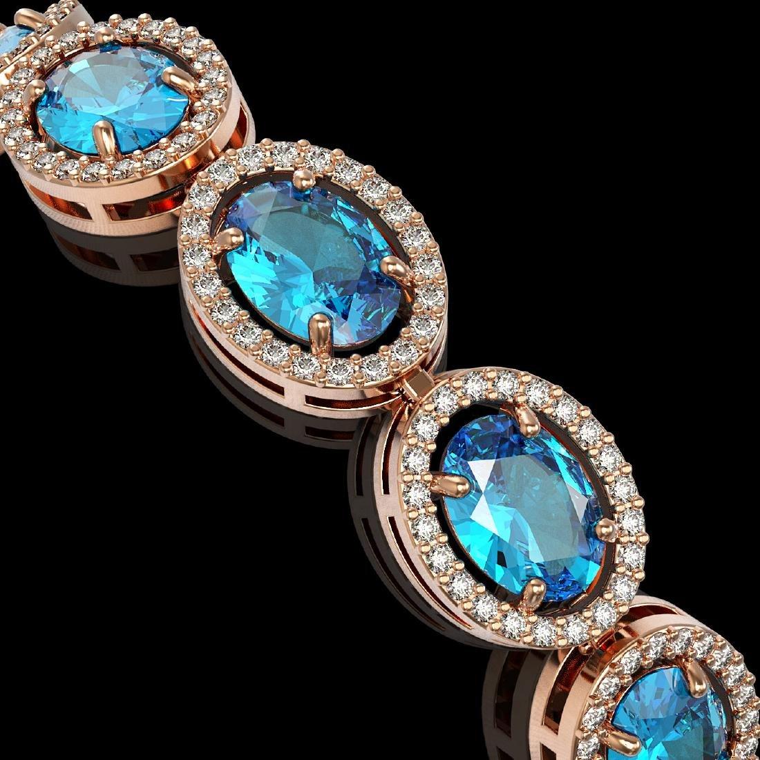 24.32 CTW Swiss Topaz & Diamond Halo Bracelet 10K Rose - 3