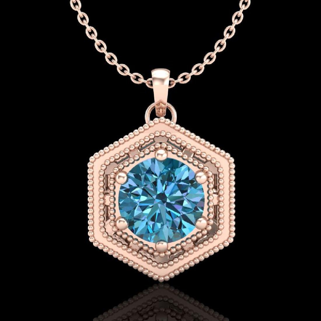 0.76 CTW Fancy Intense Blue Diamond Solitaire Art Deco