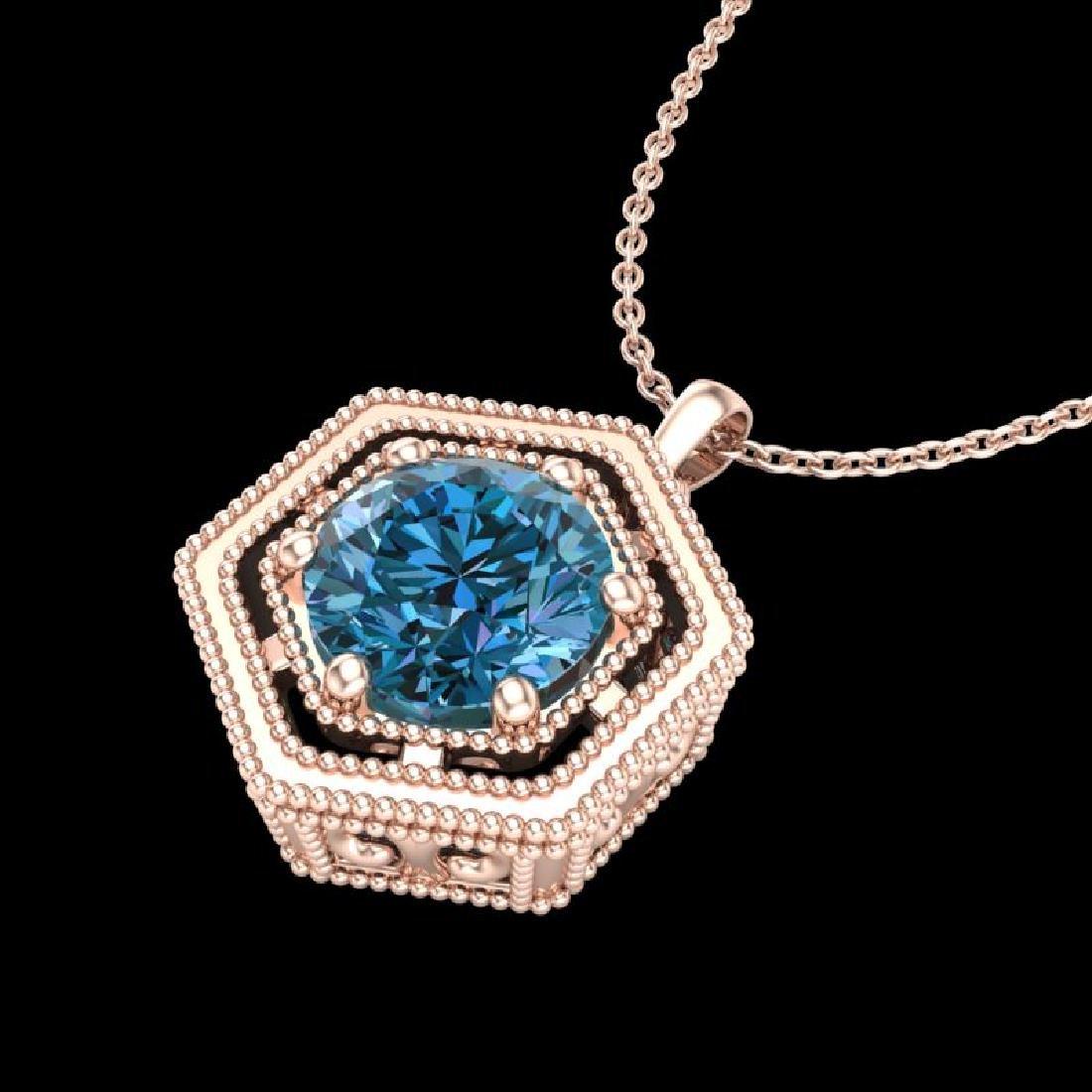 0.76 CTW Fancy Intense Blue Diamond Solitaire Art Deco - 2