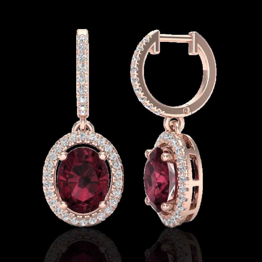3.75 CTW Garnet & Micro Pave VS/SI Diamond Earrings - 2