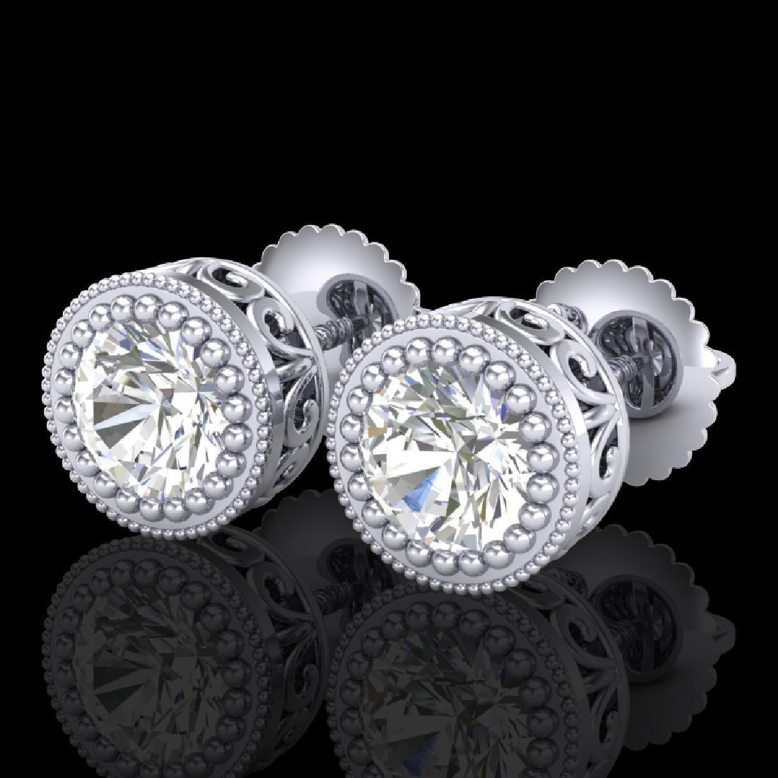1.09 CTW VS/SI Diamond Solitaire Art Deco Stud Earrings