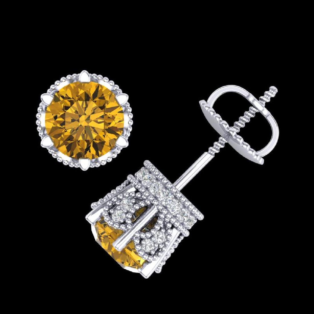 2.04 CTW Intense Fancy Yellow Diamond Art Deco Stud - 3