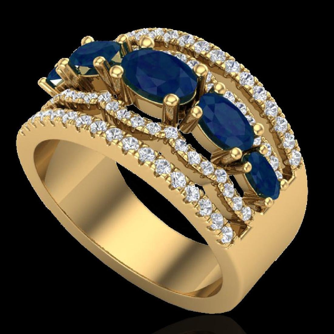 2.25 CTW Sapphire & Micro Pave VS/SI Diamond Designer - 2