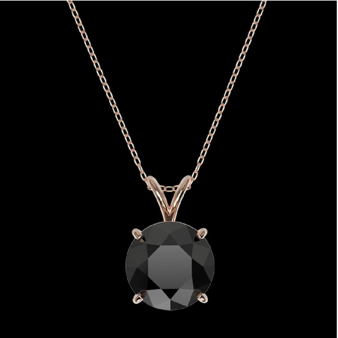 2.58 CTW Fancy Black VS Diamond Solitaire Necklace 10K - 3