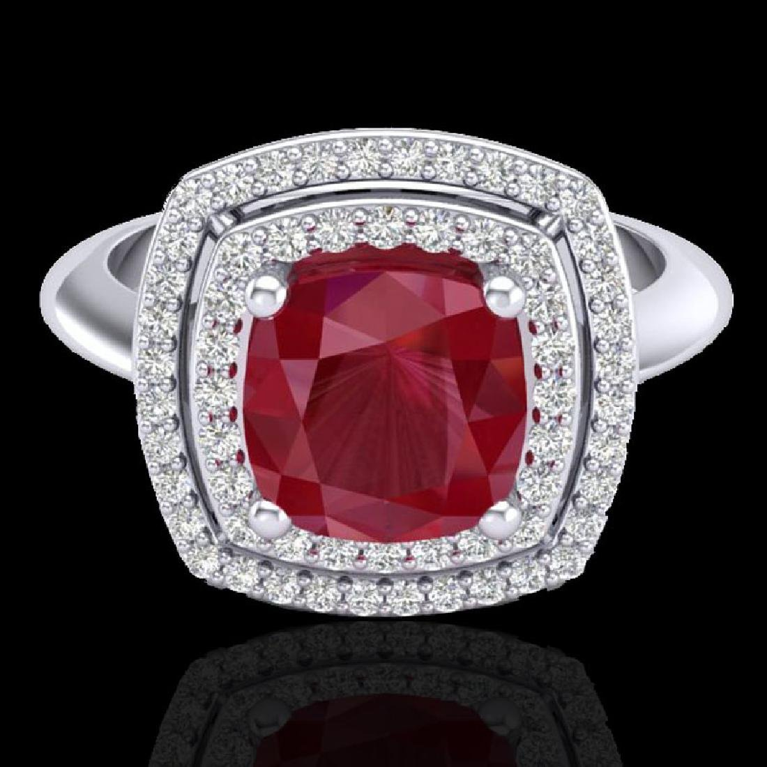 2.52 CTW Ruby & Micro VS/SI Diamond Pave Halo Ring 18K