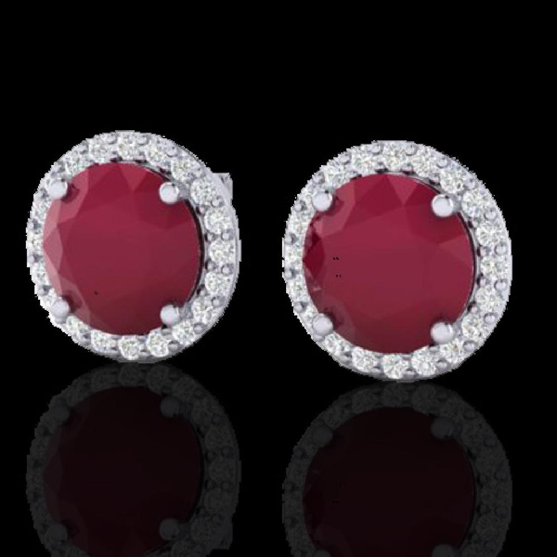 4 CTW Ruby & Halo VS/SI Diamond Micro Earrings