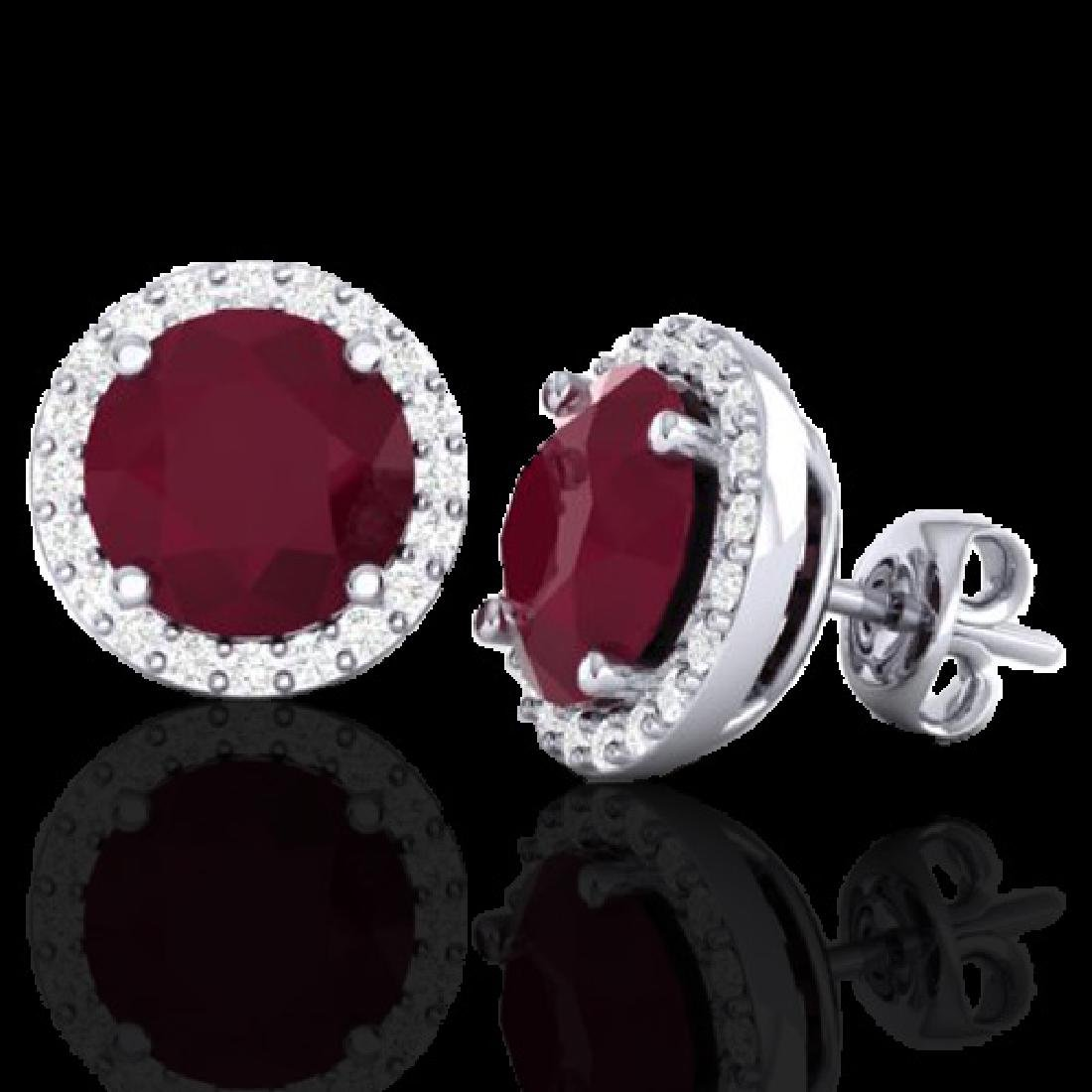 4 CTW Ruby & Halo VS/SI Diamond Micro Earrings - 2