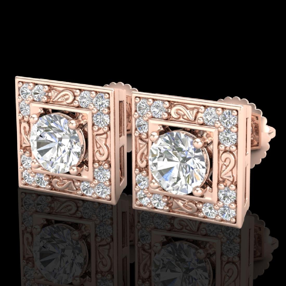 1.63 CTW VS/SI Diamond Solitaire Art Deco Stud Earrings