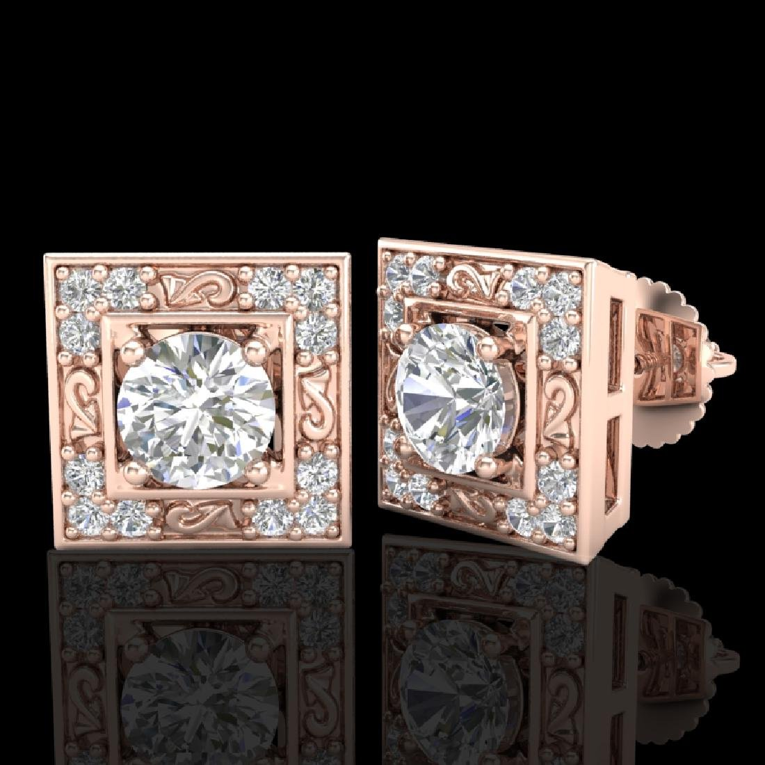 1.63 CTW VS/SI Diamond Solitaire Art Deco Stud Earrings - 2