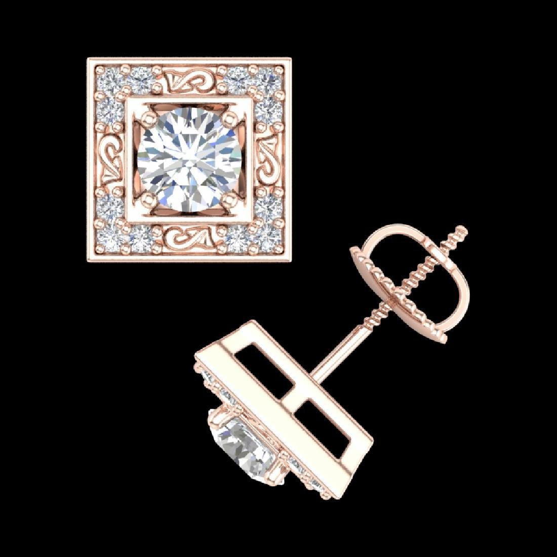 1.63 CTW VS/SI Diamond Solitaire Art Deco Stud Earrings - 3