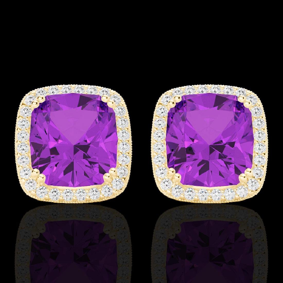 6 CTW Amethyst & Micro Pave VS/SI Diamond Halo