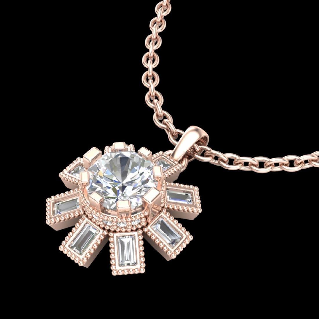 1.33 CTW VS/SI Diamond Solitaire Art Deco Stud Necklace - 2