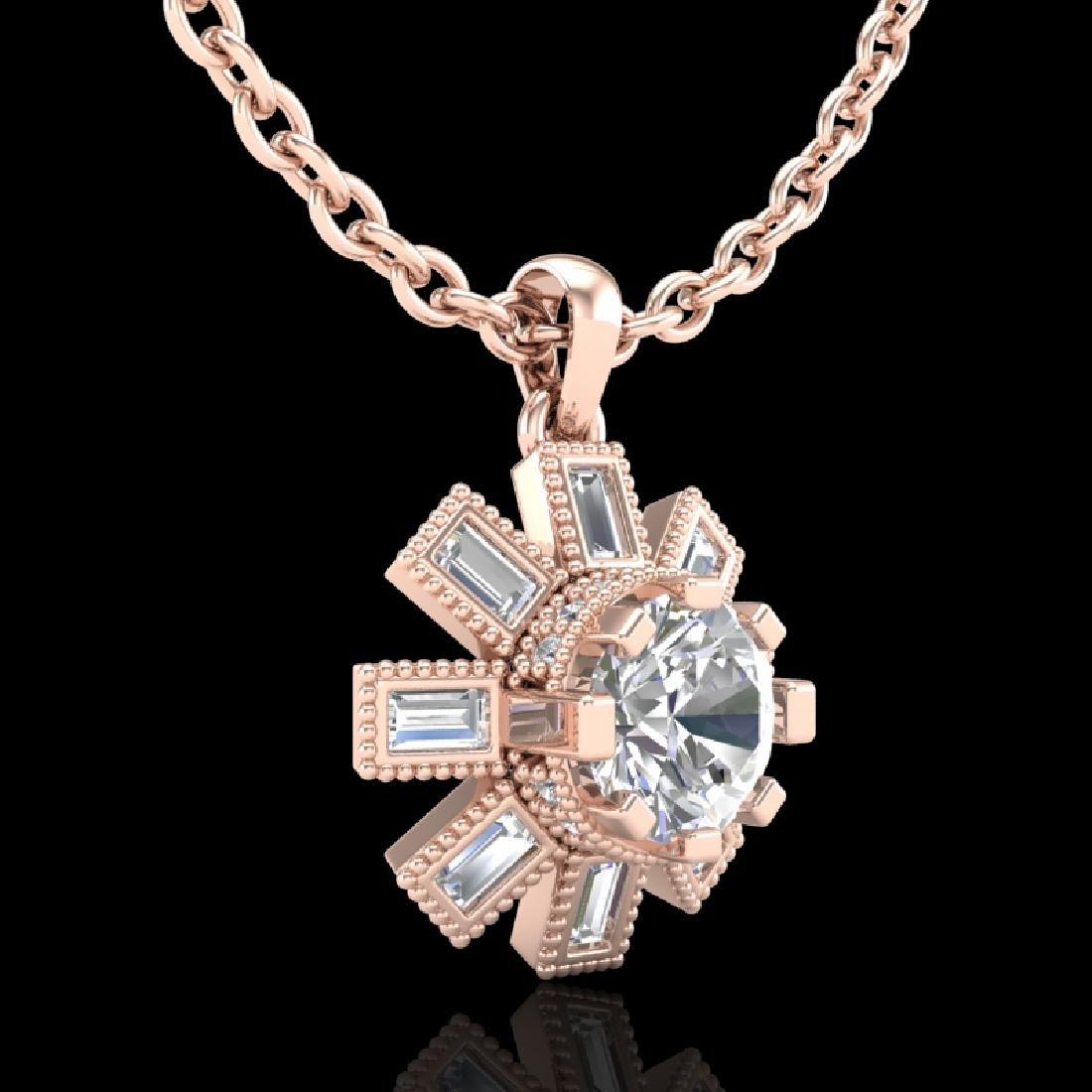1.33 CTW VS/SI Diamond Solitaire Art Deco Stud Necklace - 3