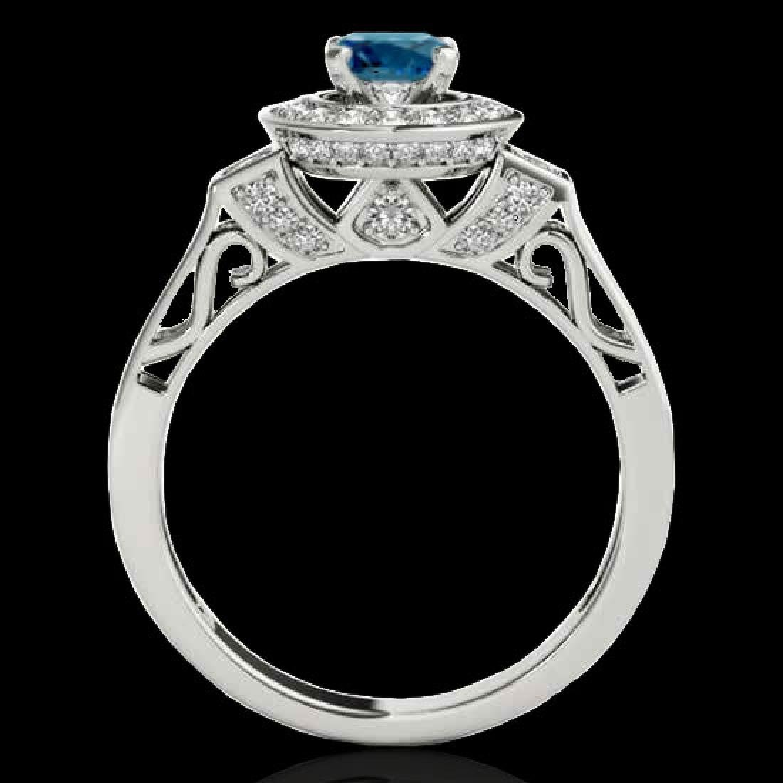1.75 CTW SI Certified Fancy Blue Diamond Solitaire Halo - 2