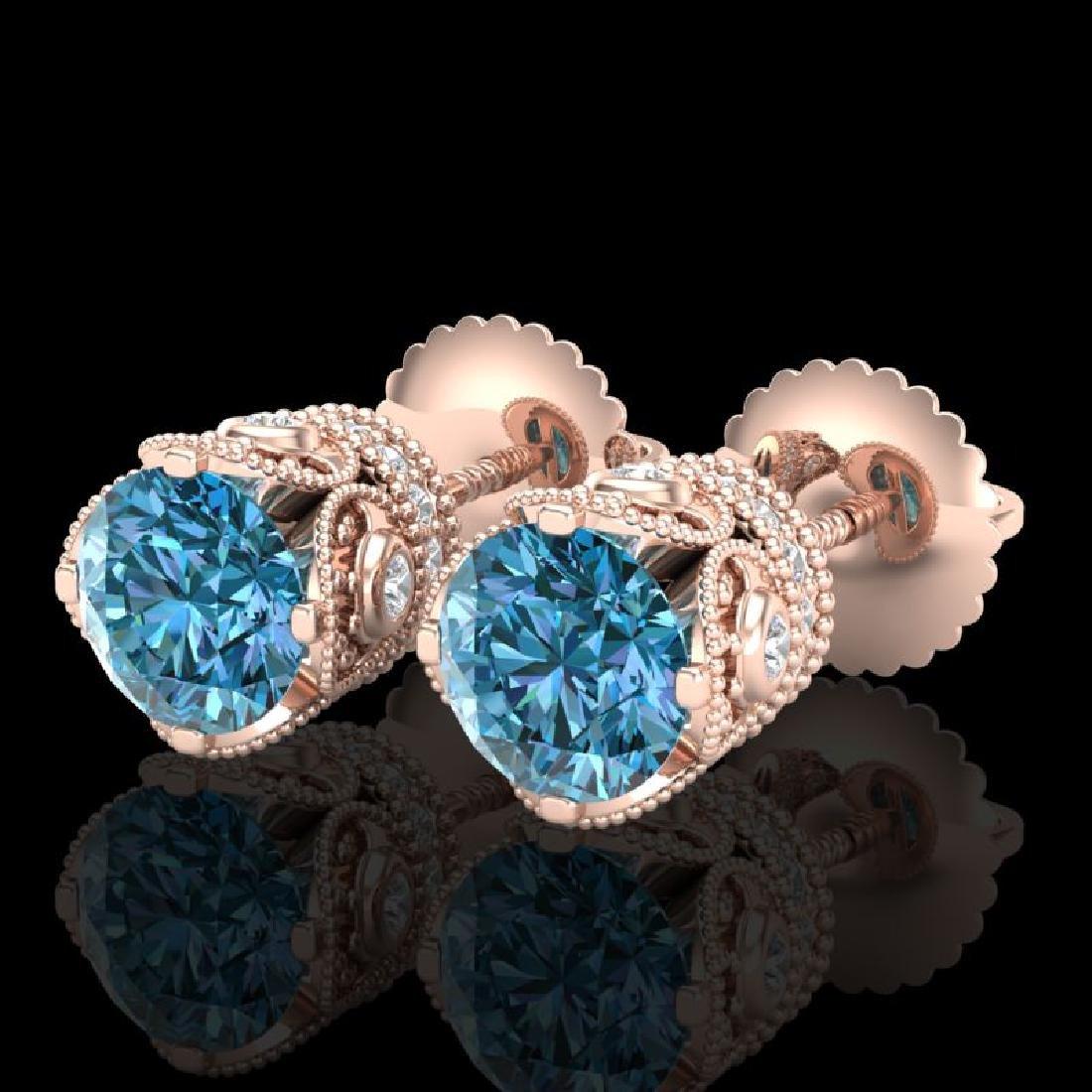 1.85 CTW Fancy Intense Blue Diamond Art Deco Stud