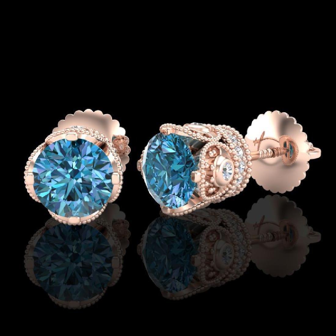 1.85 CTW Fancy Intense Blue Diamond Art Deco Stud - 2