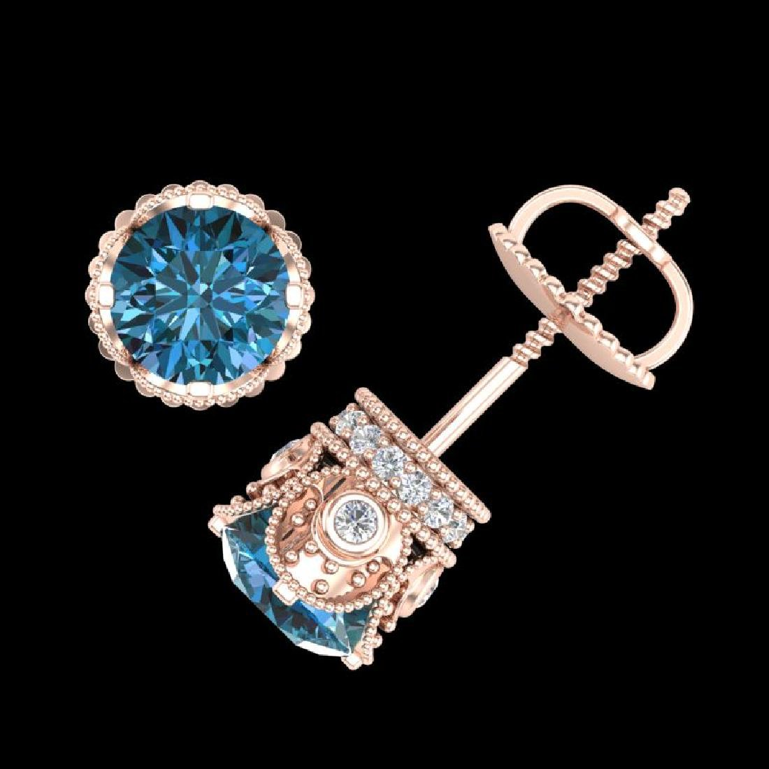 1.85 CTW Fancy Intense Blue Diamond Art Deco Stud - 3