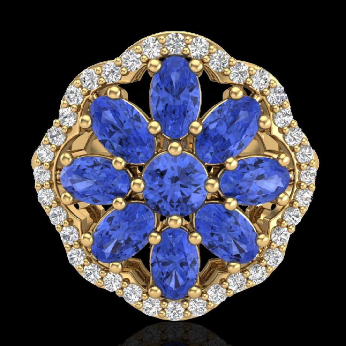 3 CTW Tanzanite & VS/SI Diamond Cluster Designer Halo - 2