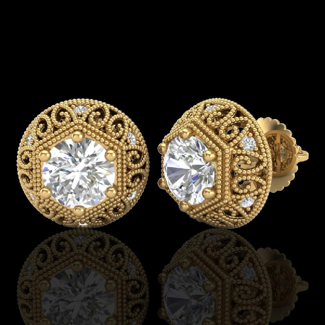 1.31 CTW VS/SI Diamond Solitaire Art Deco Stud Earrings - 2