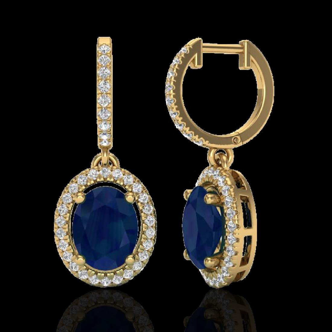 4.25 CTW Sapphire & Micro Pave VS/SI Diamond Earrings - 2