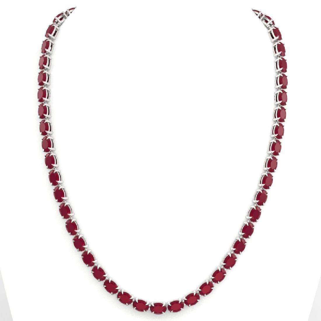 68 CTW Ruby Eternity Designer Inspired Tennis Necklace - 3