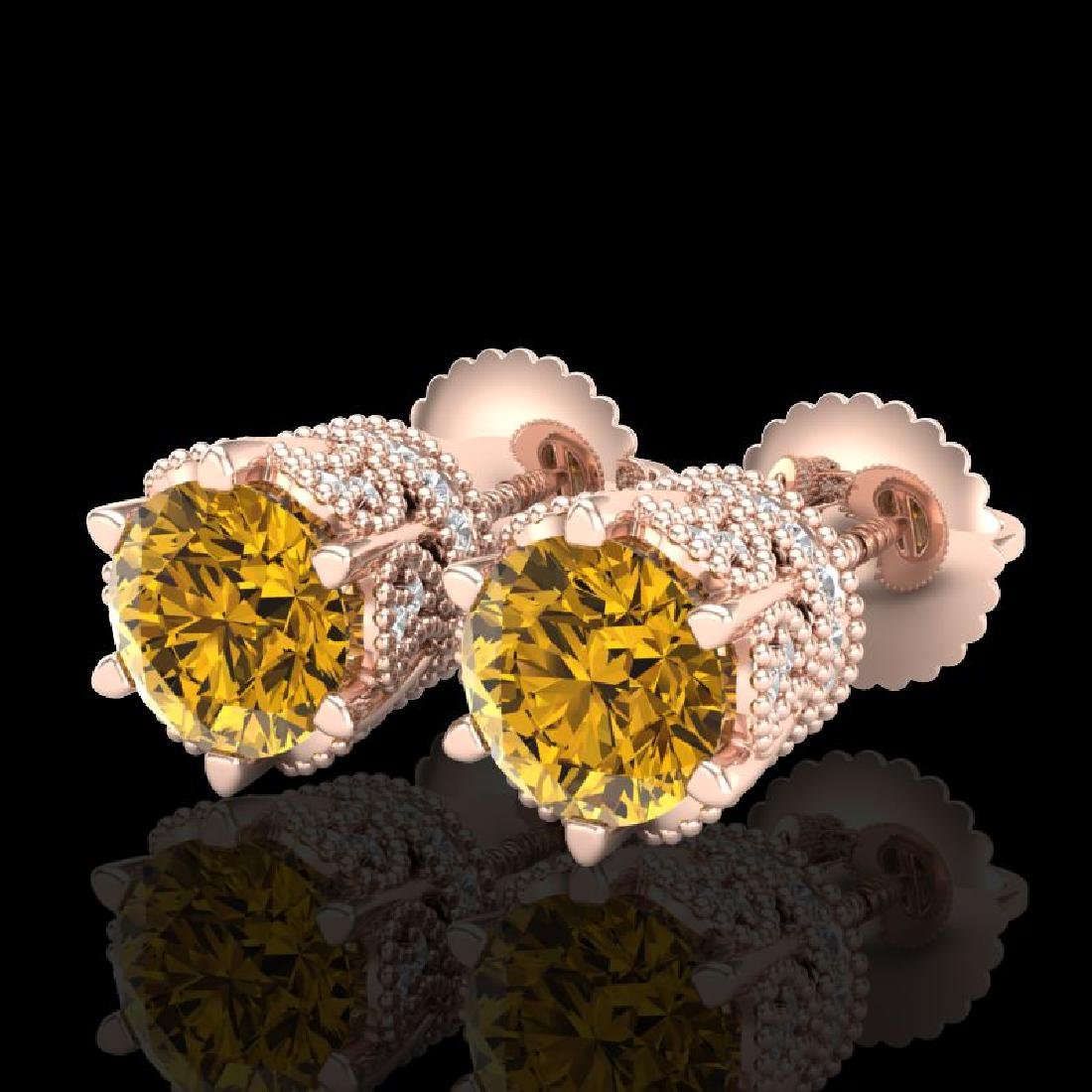 2.04 CTW Intense Fancy Yellow Diamond Art Deco Stud
