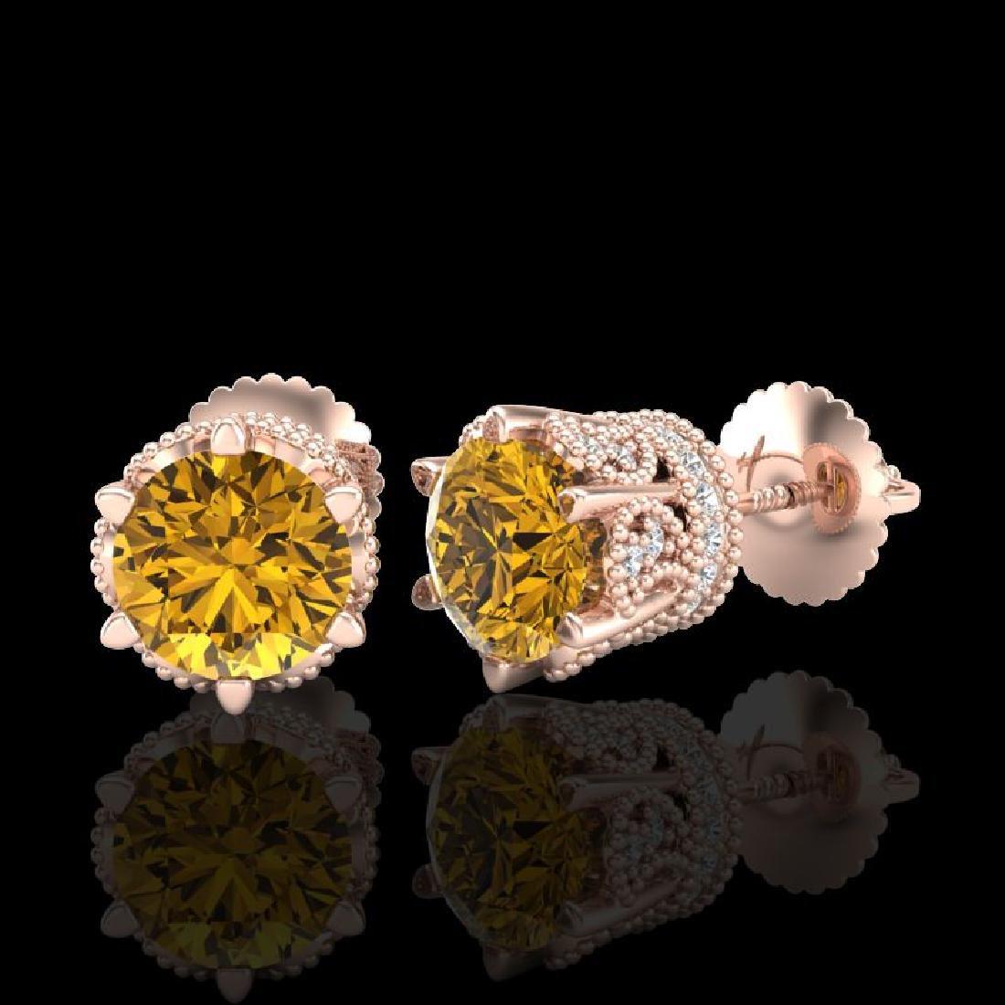 2.04 CTW Intense Fancy Yellow Diamond Art Deco Stud - 2
