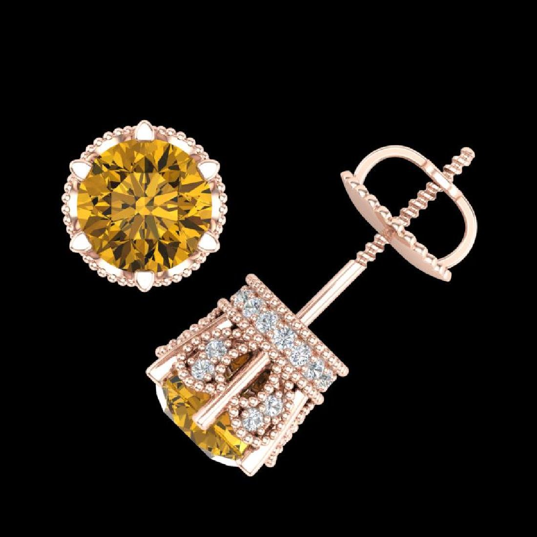 2.04 CTW Intense Fancy Yellow Diamond Art Deco Stud - 3