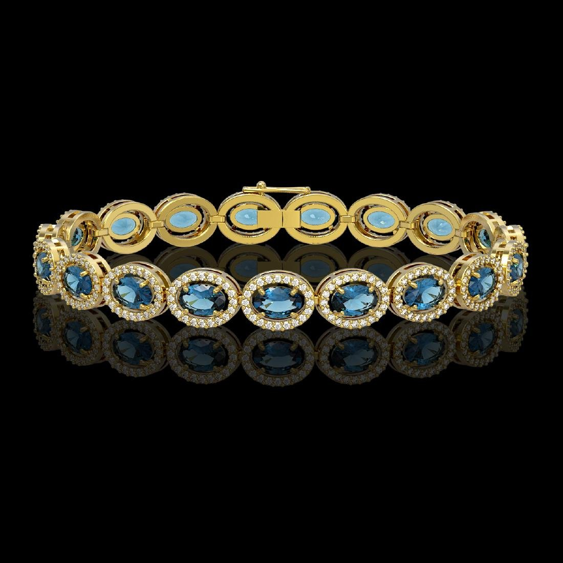 14.82 CTW London Topaz & Diamond Halo Bracelet 10K