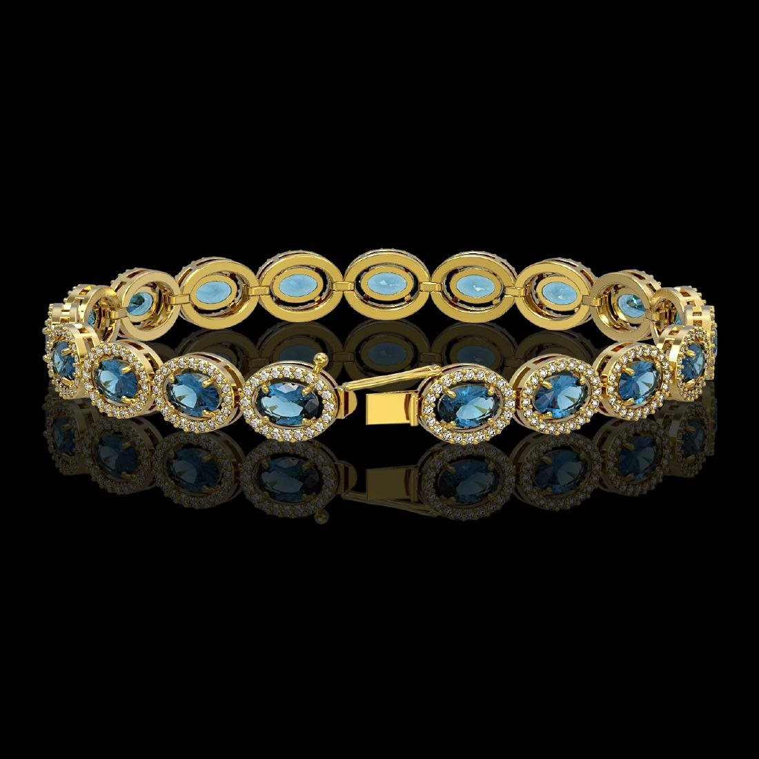 14.82 CTW London Topaz & Diamond Halo Bracelet 10K - 2