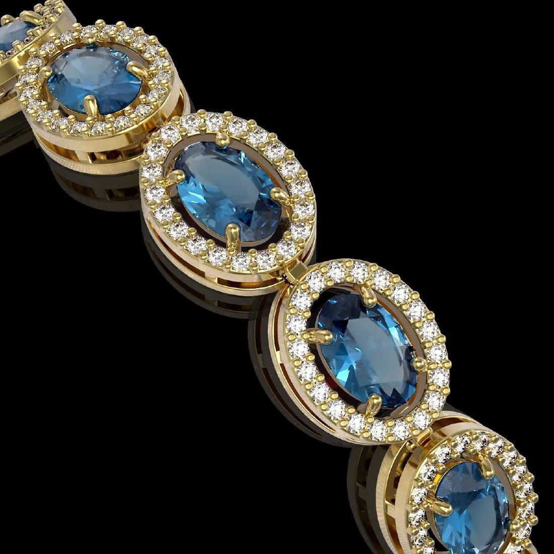 14.82 CTW London Topaz & Diamond Halo Bracelet 10K - 3