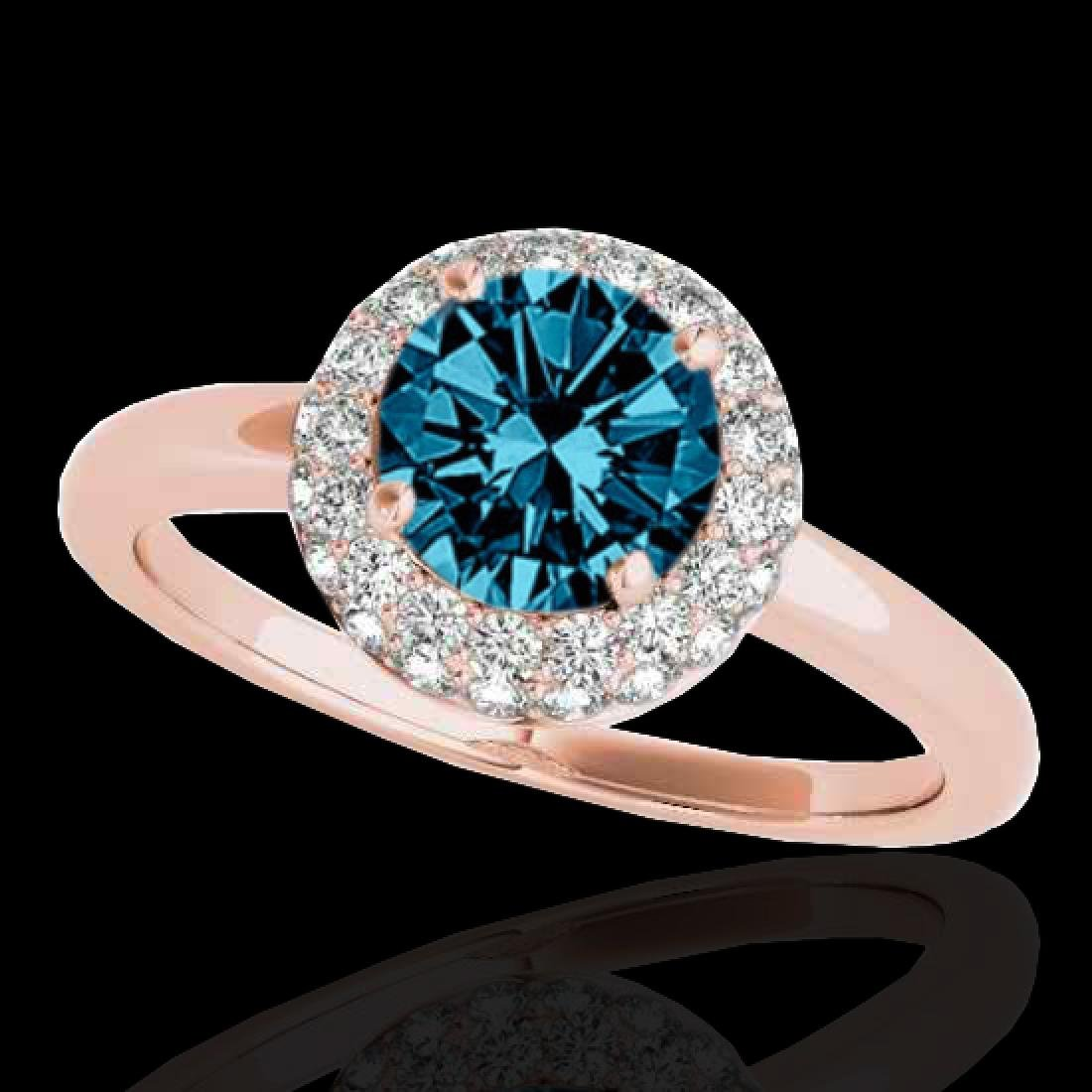 1.43 CTW SI Certified Fancy Blue Diamond Solitaire Halo