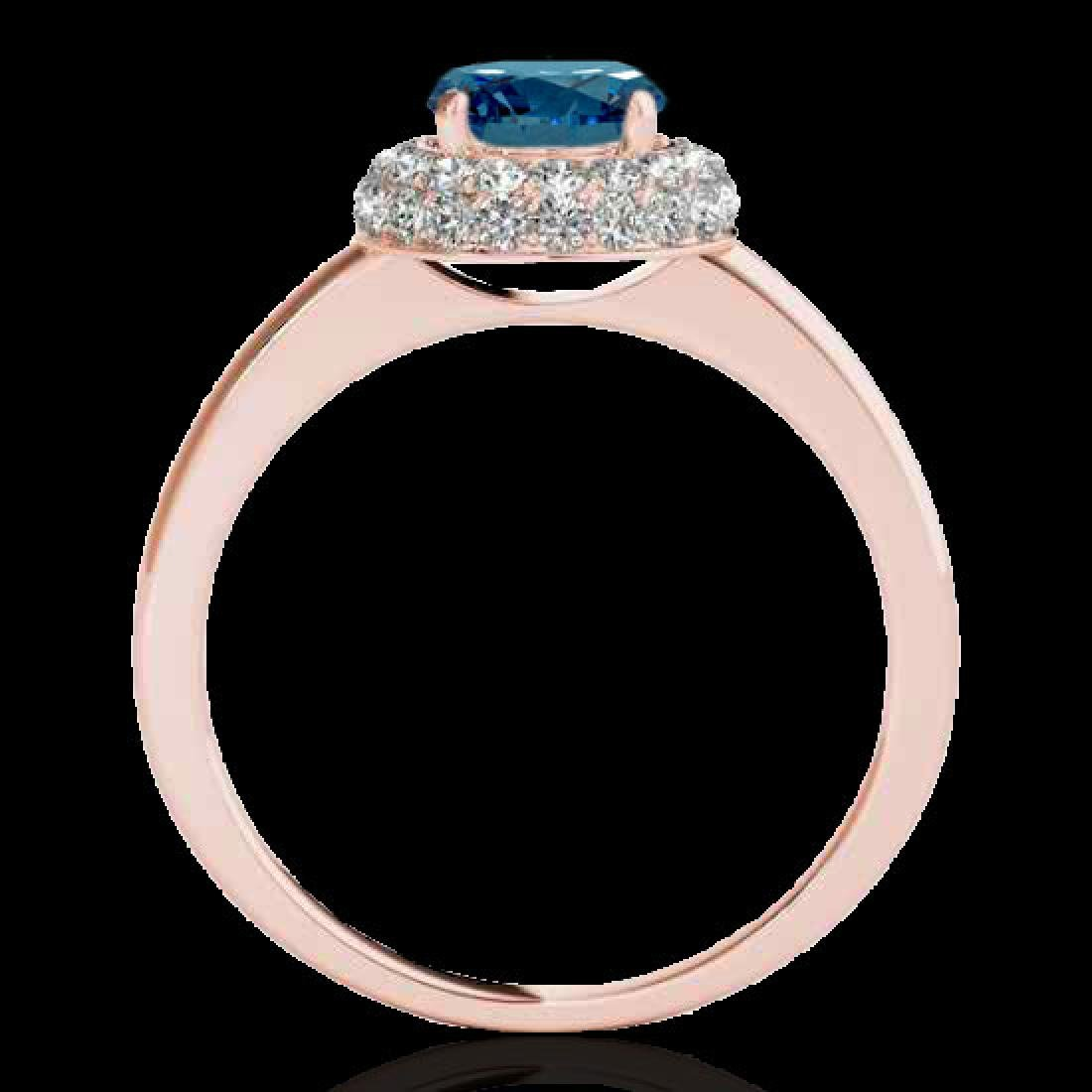 1.43 CTW SI Certified Fancy Blue Diamond Solitaire Halo - 2