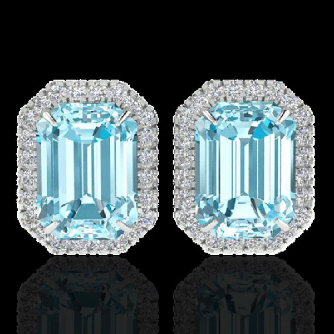 12 CTW Sky Blue Topaz And Micro Pave VS/SI Diamond Halo