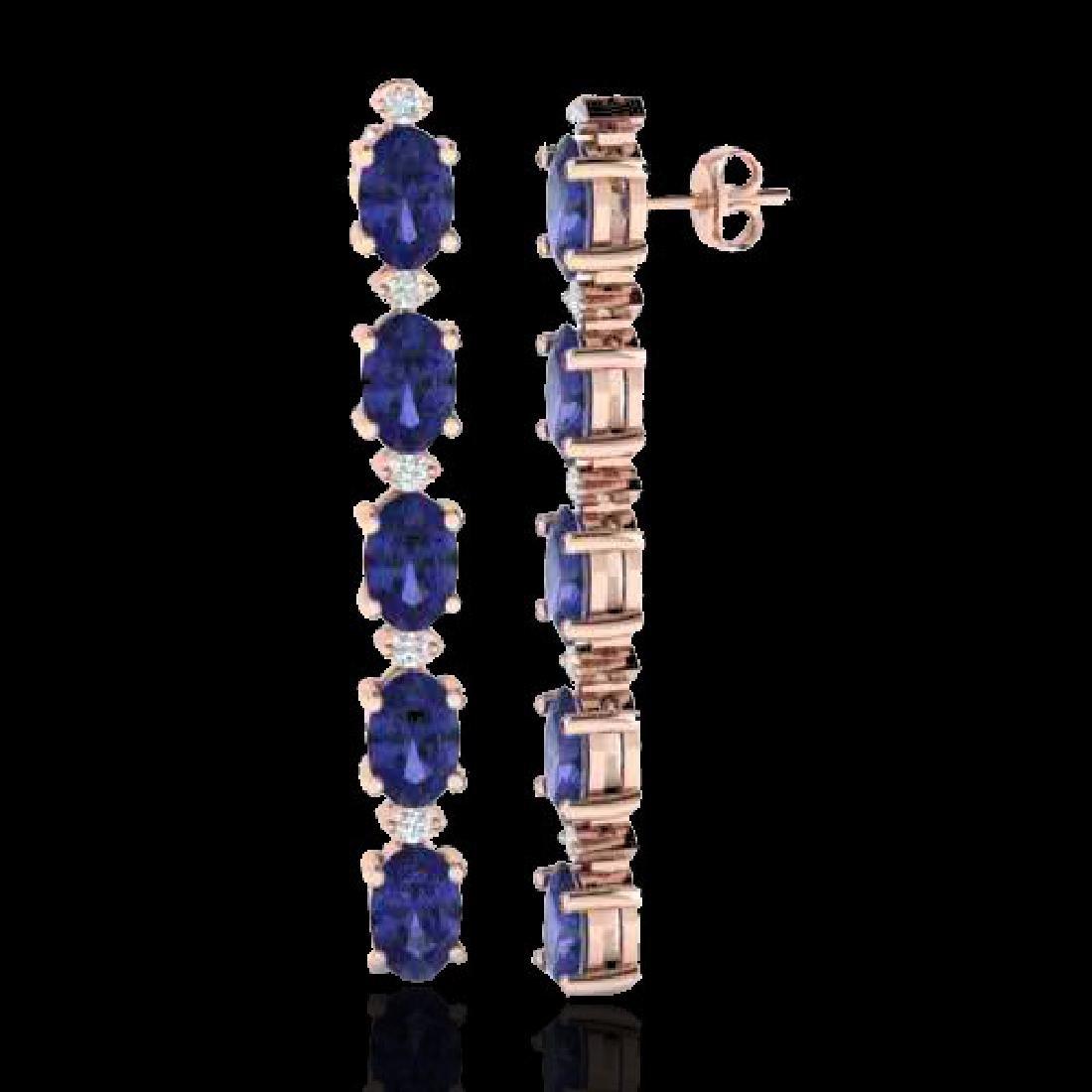 6 CTW Tanzanite & VS/SI Diamond Tennis Earrings 10K - 2