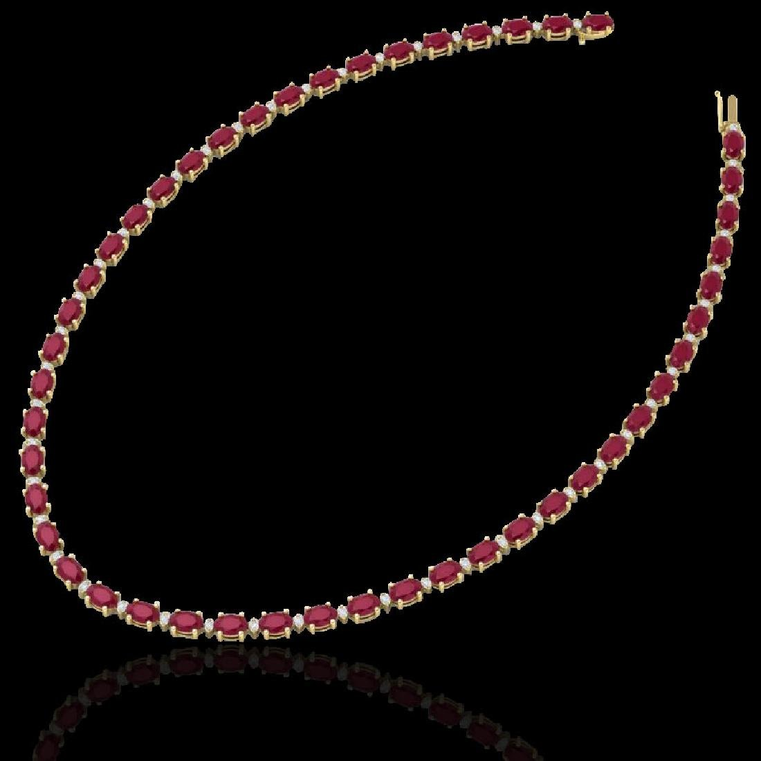 35 CTW Ruby & VS/SI Diamond Eternity Tennis Necklace - 2