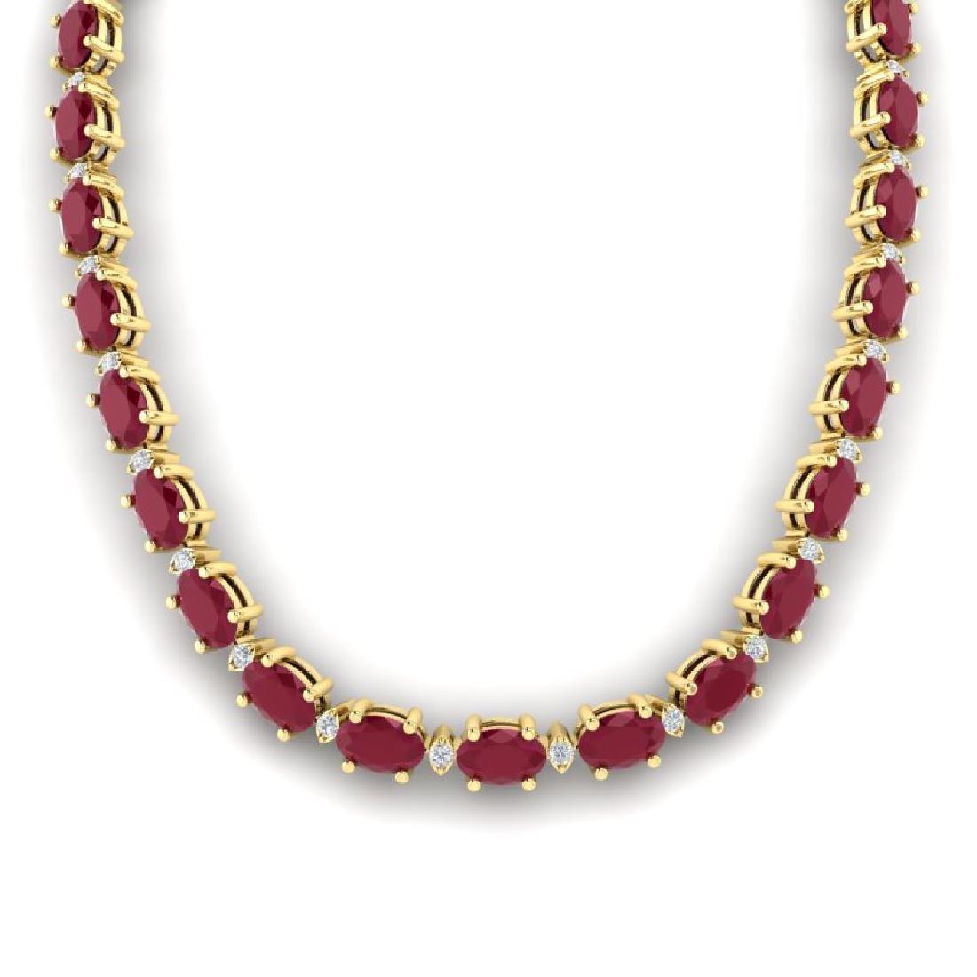 35 CTW Ruby & VS/SI Diamond Eternity Tennis Necklace - 3
