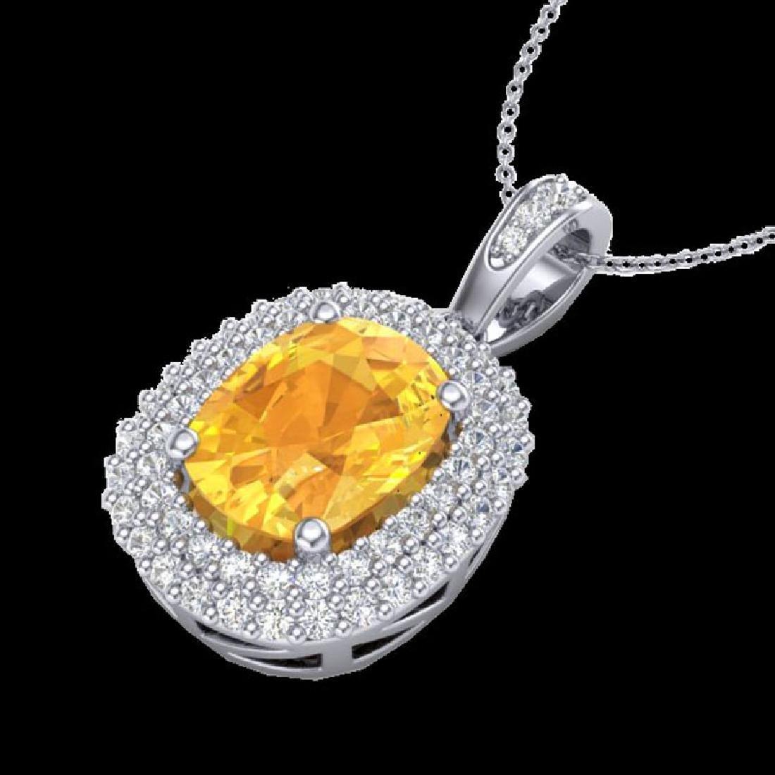 3 CTW Citrine & Micro Pave VS/SI Diamond Halo Necklace - 2