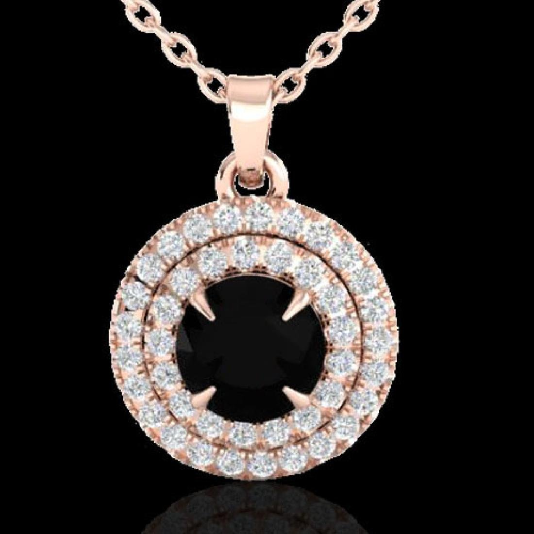 1 CTW Micro Pave VS/SI Diamond Necklace Double Halo 14K