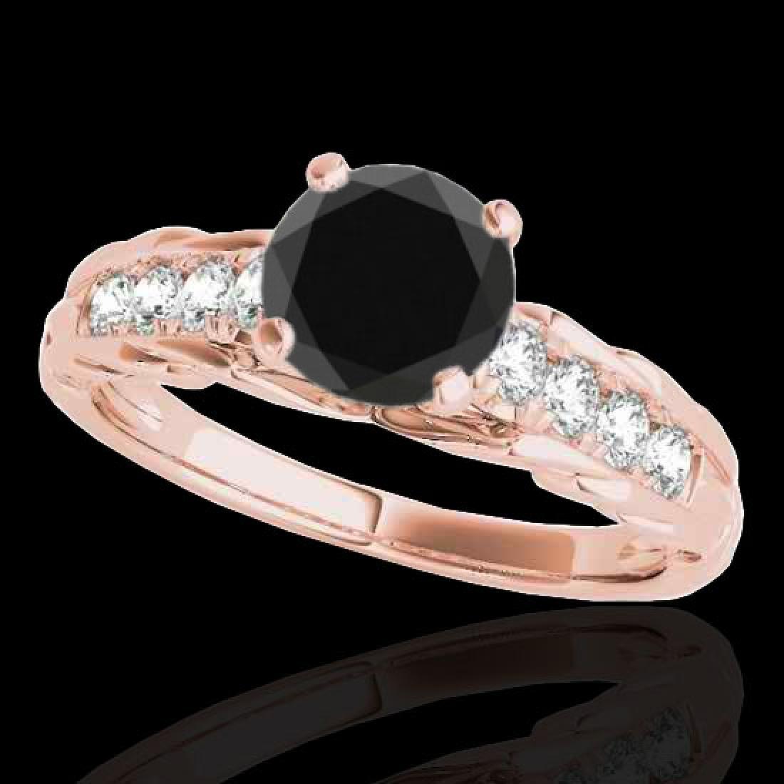 1.2 CTW Certified VS Black Diamond Solitaire Ring 10K