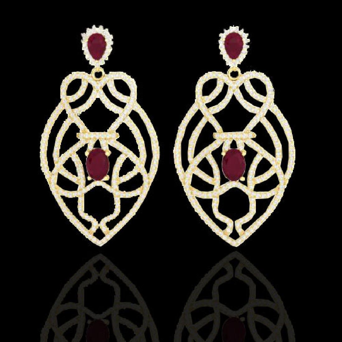 7 CTW Ruby & Micro VS/SI Diamond Heart Earrings