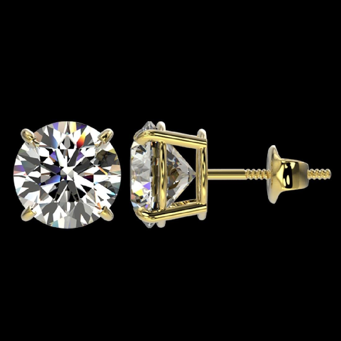 3 CTW Certified H-I Quality Diamond Solitaire Stud - 2