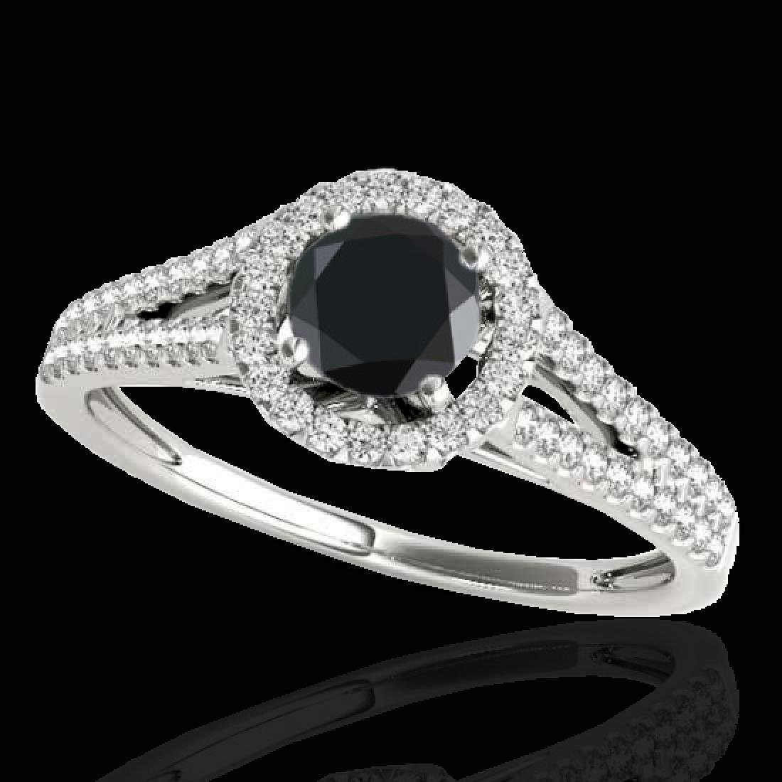 1.3 CTW Certified VS Black Diamond Solitaire Halo Ring